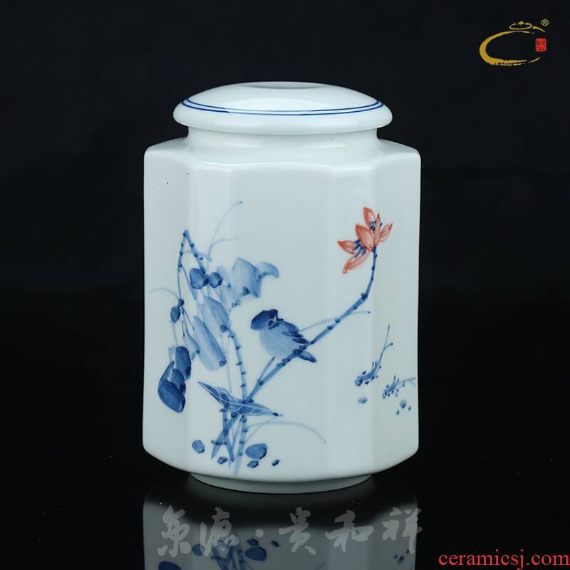 Beijing DE and auspicious ceramics tank, storage tank jingdezhen blue and white tea tea packaging gift box and tea pot