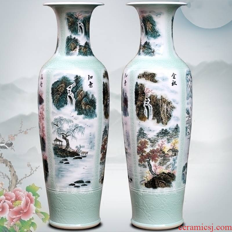 Jingdezhen ceramic hand - made landscape all around the French vase household of Chinese style living room a study office furnishing articles