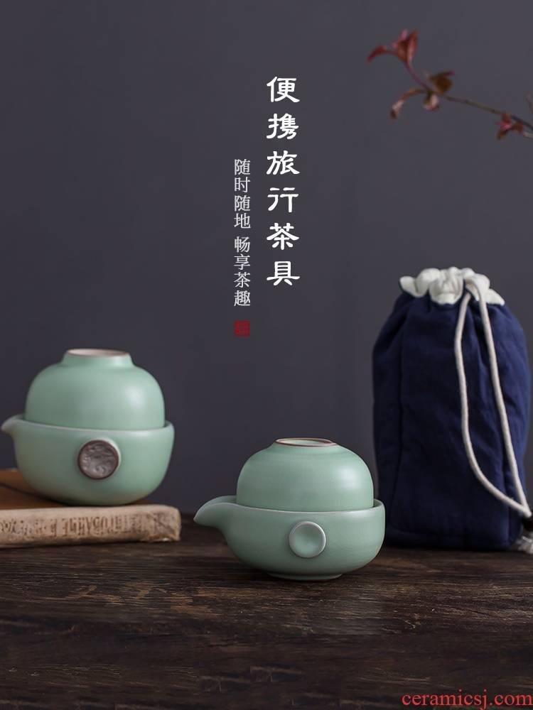 Your up crack cup a pot of 2 CPU use portable travel hand grasp pot of jingdezhen ceramic kung fu tea set CPU