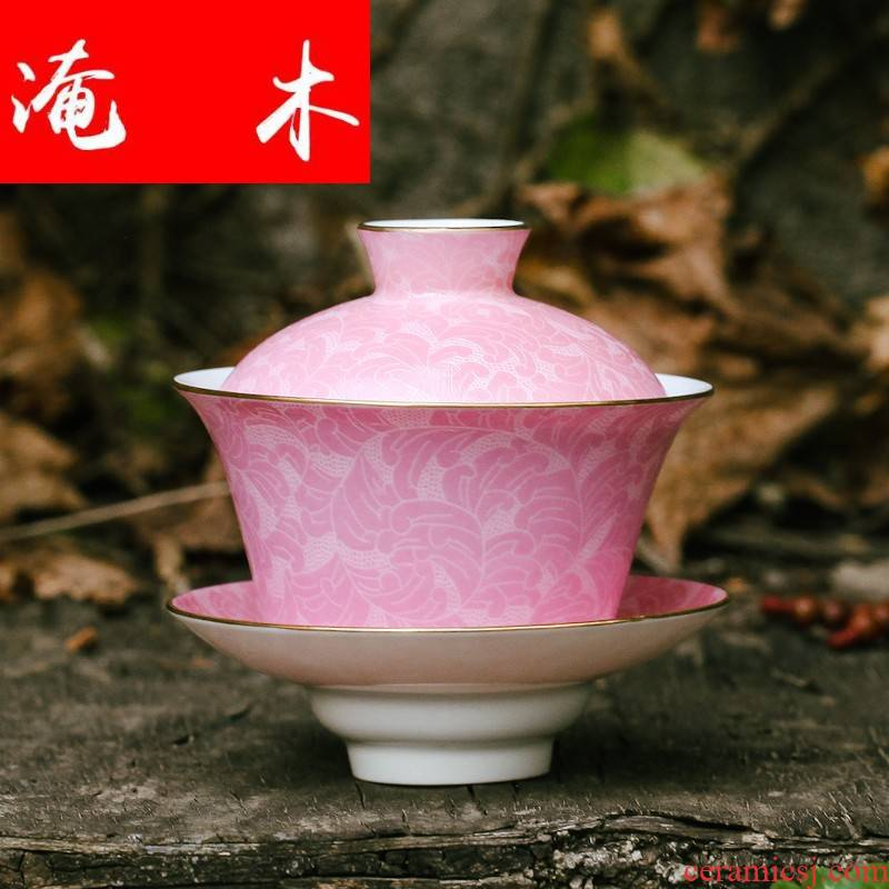 Flooded the wood post jingdezhen ceramic tea set all hand hand draw pastel paint pick flowers gradient three tureen