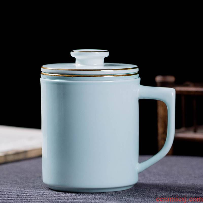 Jingdezhen filtering ceramic tea cups with cover cup of large capacity domestic cup cup celadon office