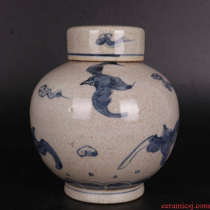 Ming blue and white live lines caddy fixings hand - made antique crafts porcelain household of Chinese style furnishing articles antique curio collection