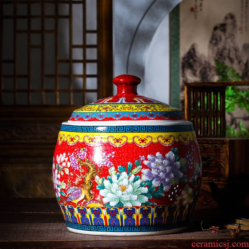 Jingdezhen ceramic barrel with cover Chinese colored enamel 20 jins home sitting room place seal storage tank ornament