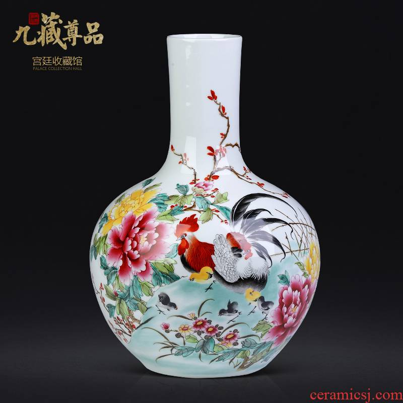 Master hand - made vases, jingdezhen ceramics rooster sitting room porch Chinese TV ark, flower arranging decorative furnishing articles