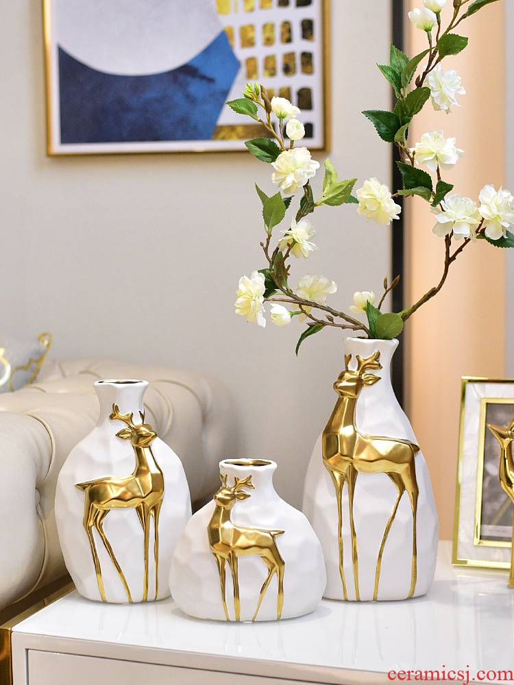 Modern light key-2 luxury wind - deer ceramic vase furnishing articles three - piece wine sitting room adornment dried flower simulation flower arranging originality