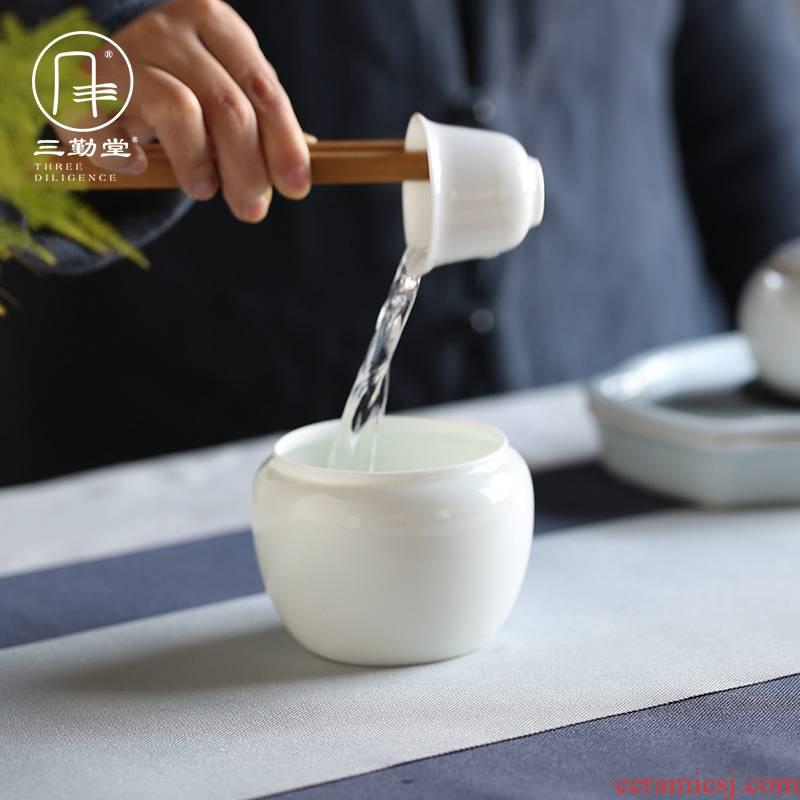 The three regular white porcelain tea wash water jar with cover household pot bearing dross barrels of kung fu tea set washing S72038 desktop