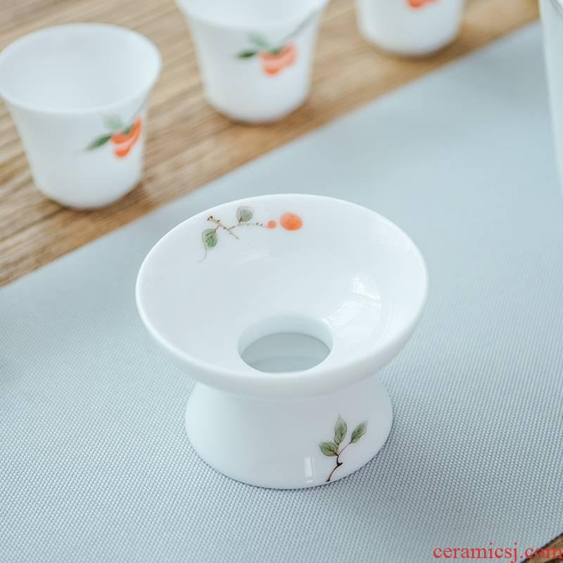 Elegant, pure hand draw bamboo tea jingdezhen manual under glaze color porcelain filtration kung fu tea spare parts