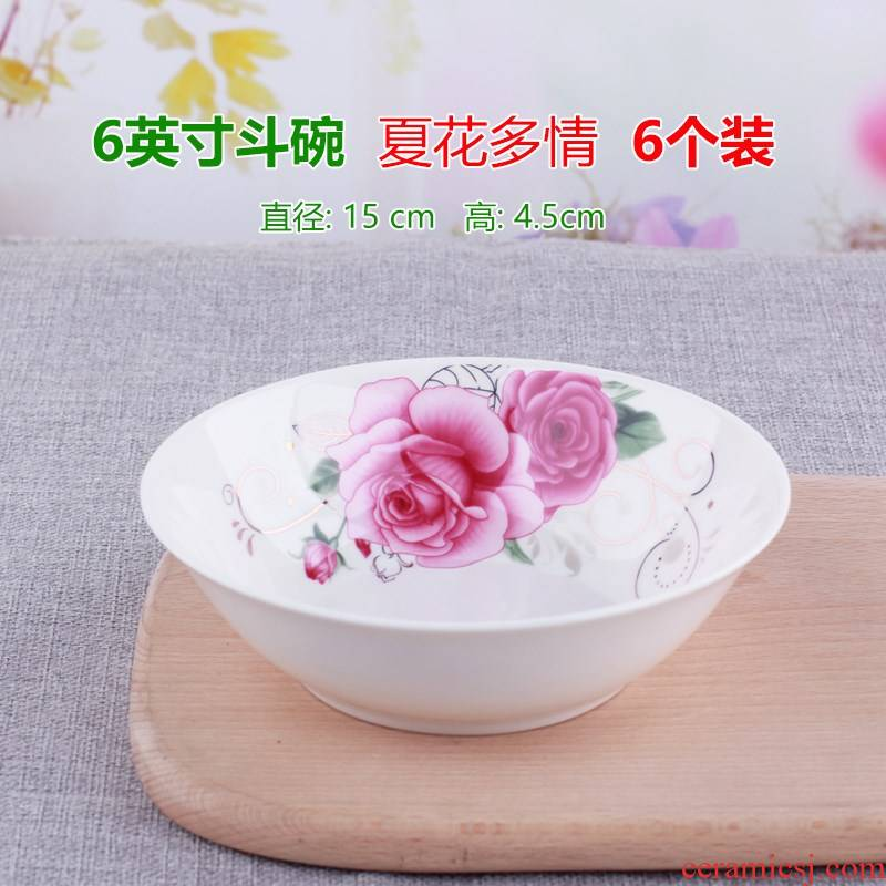 6 inches rainbow such use ceramic household rainbow such use large soup bowl dish bucket bowl of noodles bowl 6 suit microwave tableware bowls