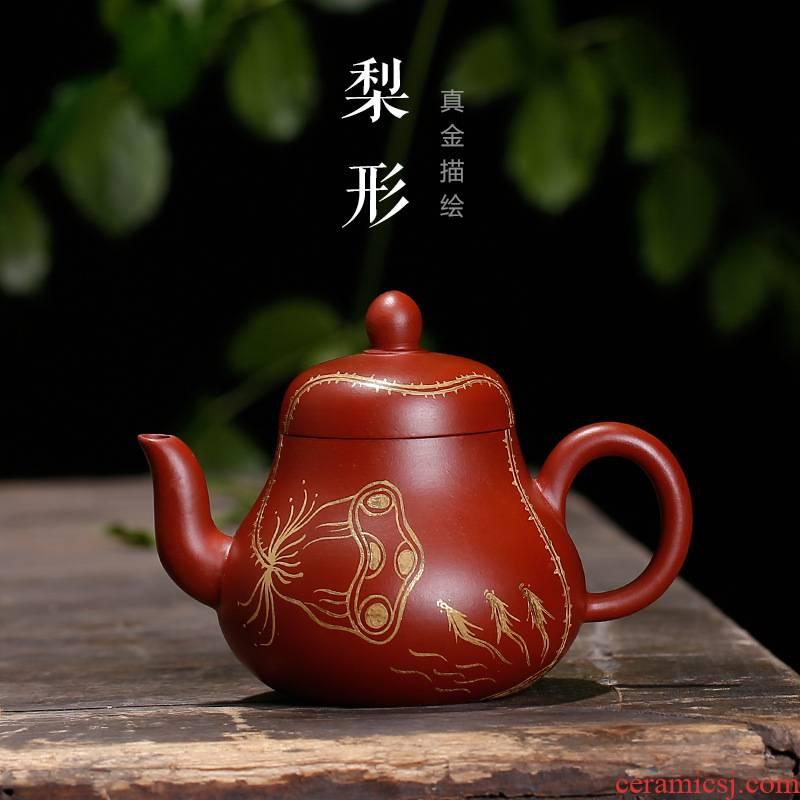 Yixing it undressed ore dahongpao pear - shaped pot all pure hand made, d. small teapot tea teapot
