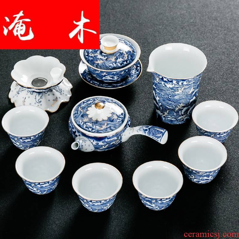 Submerged wood jingdezhen blue and white porcelain of a complete set of kung fu tea set household contracted ceramic side put pot of tea gift box