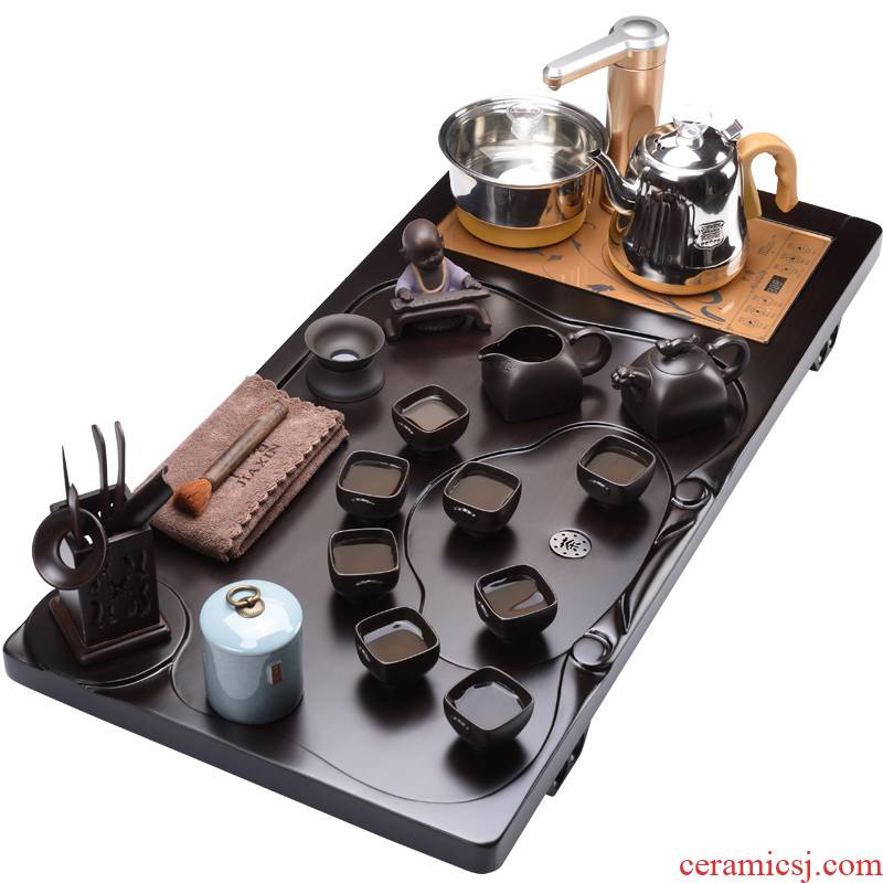 Shadow ebony wood, automatic water rest one tea tray was violet arenaceous household kung fu tea set JX