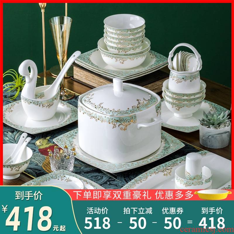 Eat the dishes suit household contracted Europe type ceramic bowl chopsticks Chinese jingdezhen porcelain tableware portfolio ipads plate