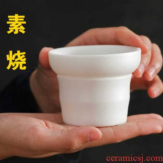 Ya xin dehua biscuit firing suet jade white porcelain filter built white porcelain) kung fu tea set ceramic tea tea