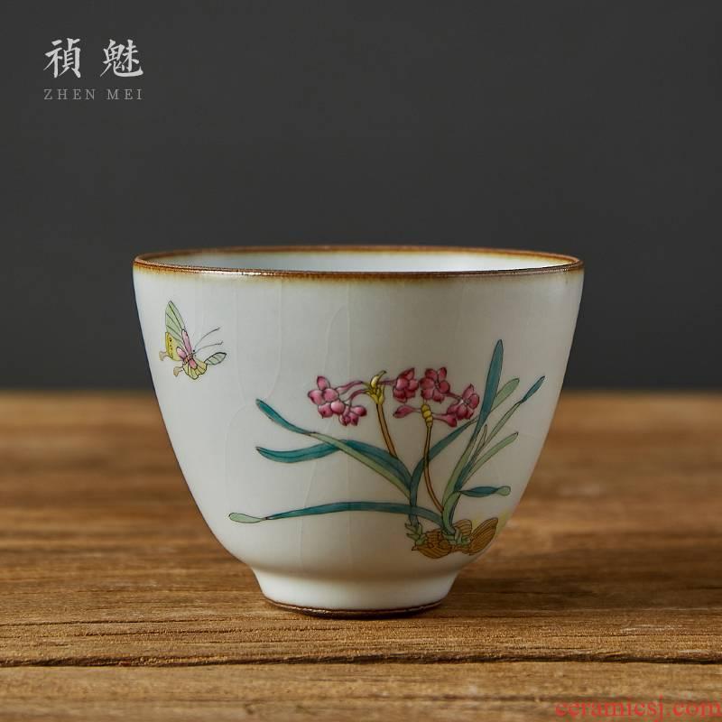 Shot incarnate your up hand - made kung fu tea cups of jingdezhen ceramic tea set single individual tea cups sliced open can raise the master CPU