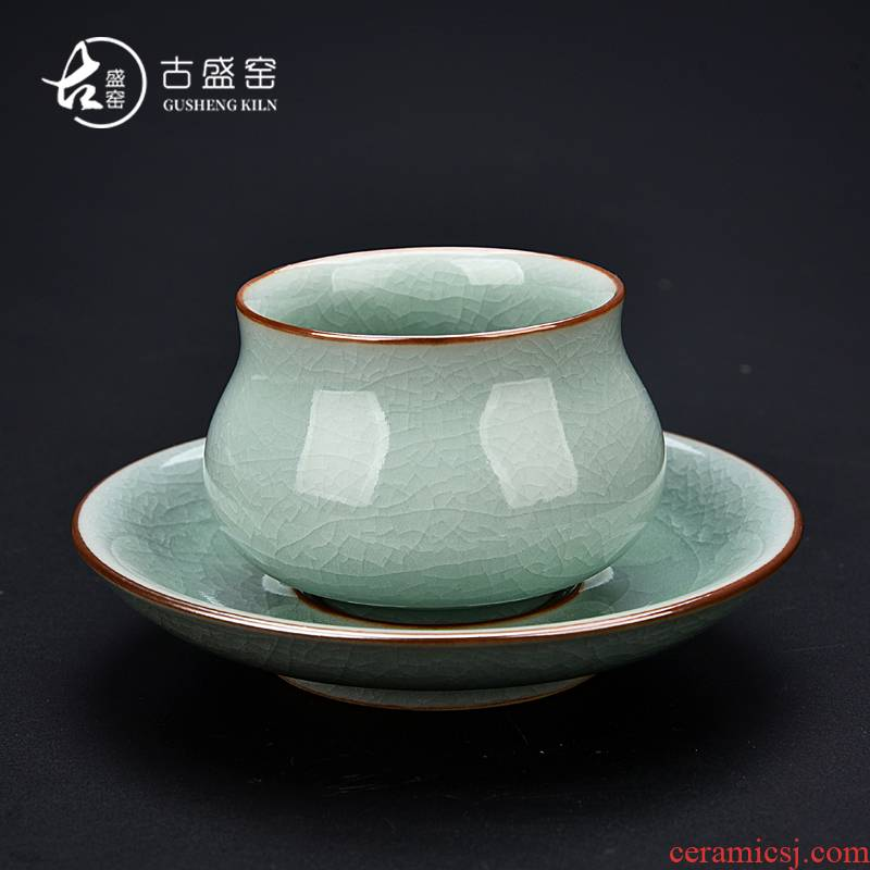 Ancient five Ancient jun sheng up ceramic cups of ice crack glaze masters cup elder brother up your up up up sample tea cup masterpieces