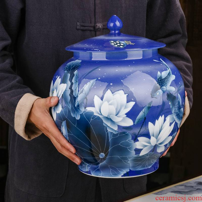 Jingdezhen ceramic tea pot home bigger sizes with cover storage cylinder pu - erh tea POTS sealed jar with cover large capacity
