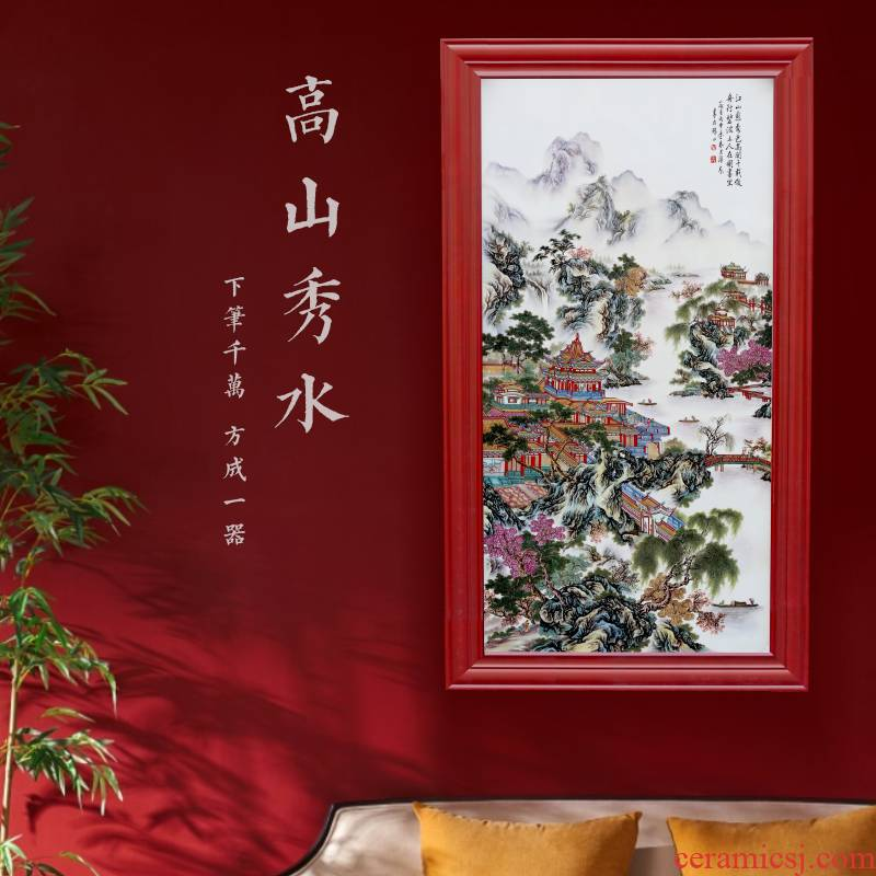 Jingdezhen ceramics porcelain plate painting decoration of new Chinese style porch sitting room wall act the role ofing hang decorations arts and crafts