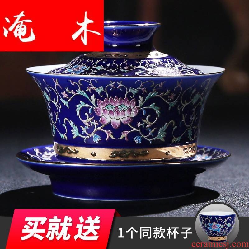 Submerged wood grilled jingdezhen spend three to use pastel rolling tureen the see colour white porcelain tea tea set manually