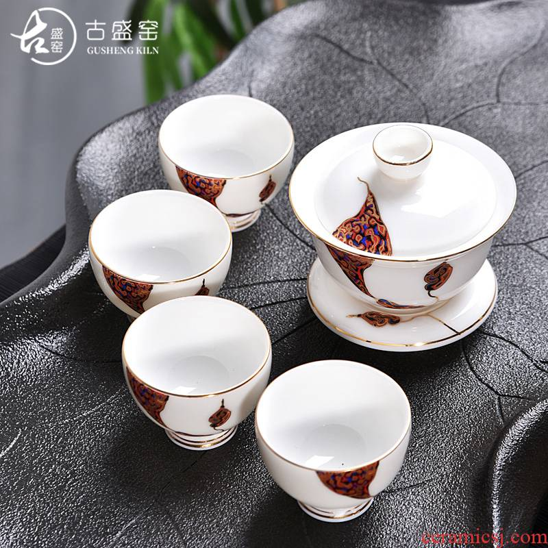 Ancient sheng up 4 new hand - made tureen travel suit portable package to crack a pot of ceramic fourth outdoors