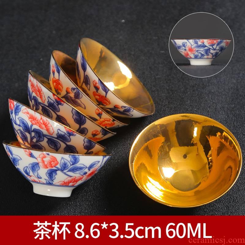 Violet arenaceous pure manual kung fu ceramic cups a single single CPU personal cup host special tea bowl tea set size