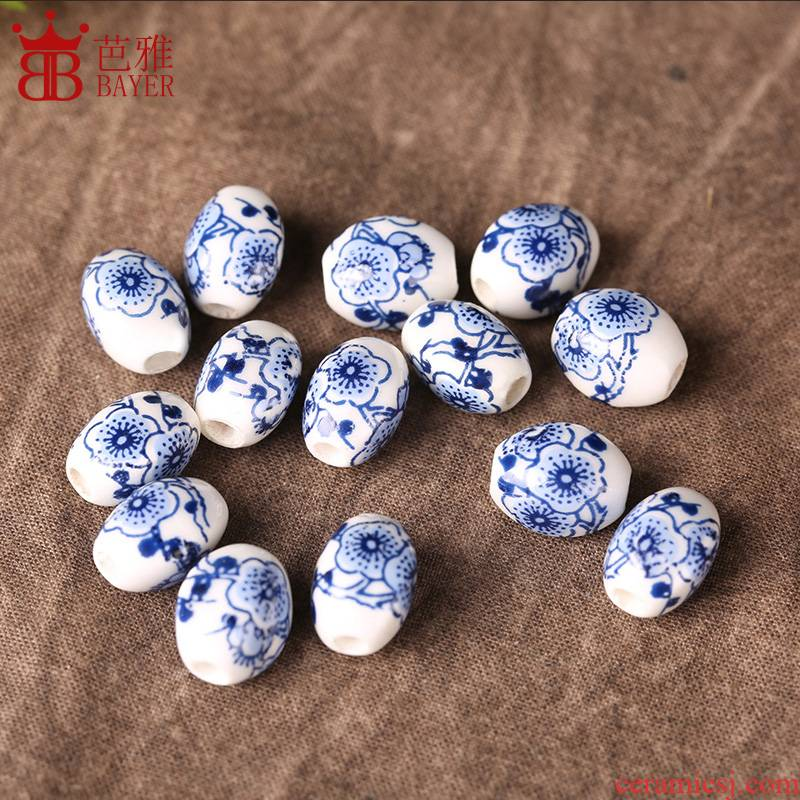 Q ba jas China wind temperature decals diamond ceramic scattered beads round bead son diy craft pendant jewelry bracelet accessories