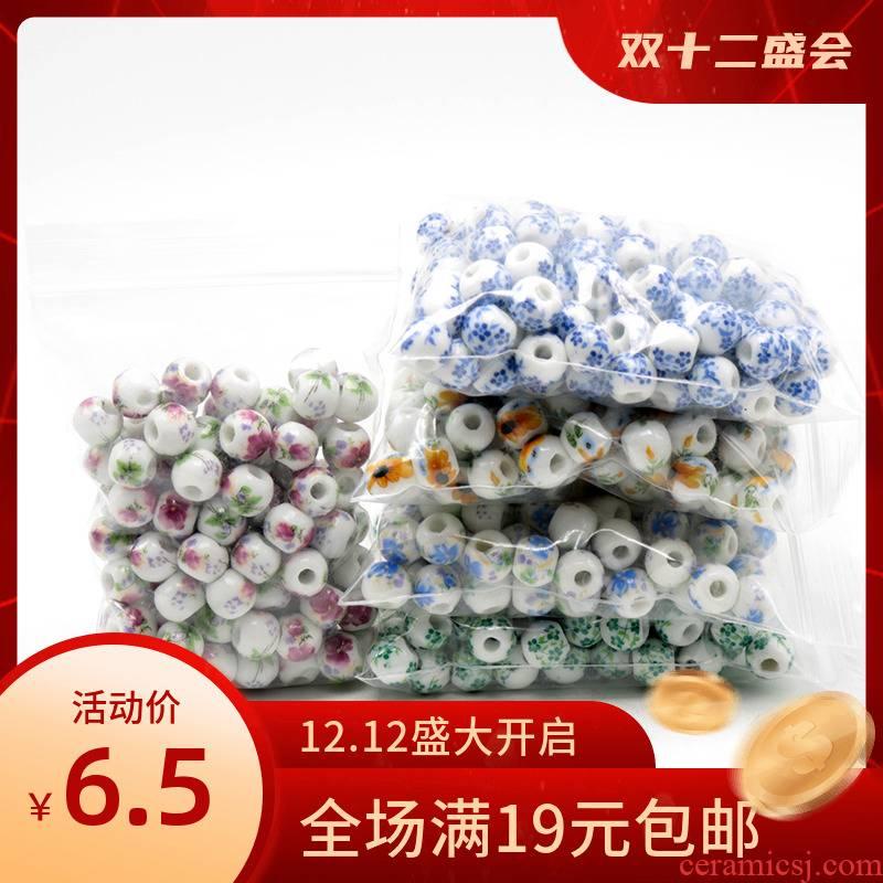 Jingdezhen ceramic applique beads 8 mm peony sunflowers flowers 50 stars up high temperature baking