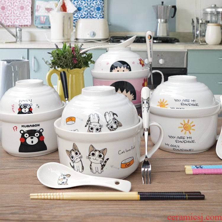 The kitchen ceramic terms rainbow such to use Japanese large lovely cartoon cup noodles with cover tableware lunch boxes send to use spoon