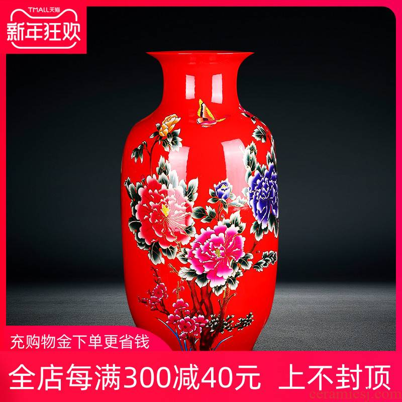Jingdezhen ceramics red peony flowers prosperous large vase landed the sitting room porch decoration high furnishing articles
