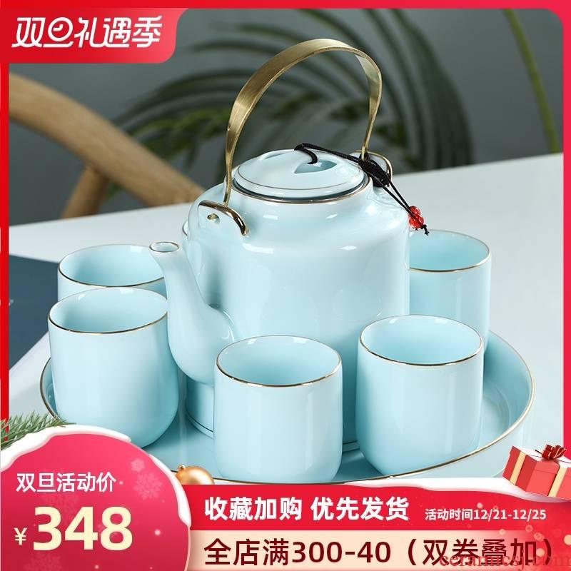 High - grade celadon jingdezhen ceramic tea set teapot teacup key-2 luxury kung fu suit household saucer consolidation