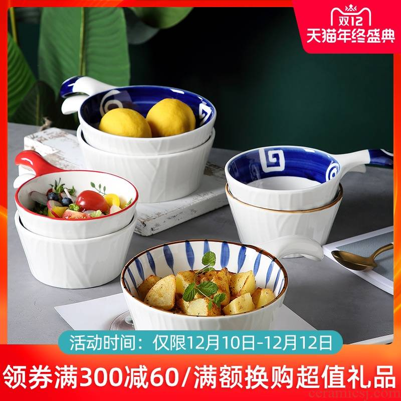 Japanese ceramic bowl with creative move with the handle for the job of a single bowl of fruit salad bowl of noodles in soup, tableware