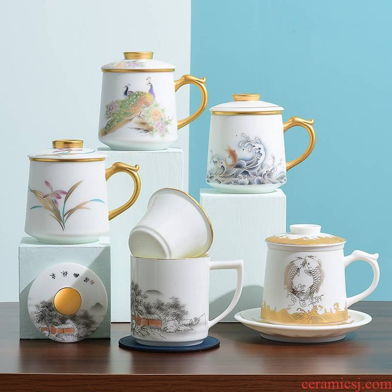 Dehua white porcelain ipads porcelain ceramic cups with cover suet jade cup men 's and women' s high - end office tea cup filter cup