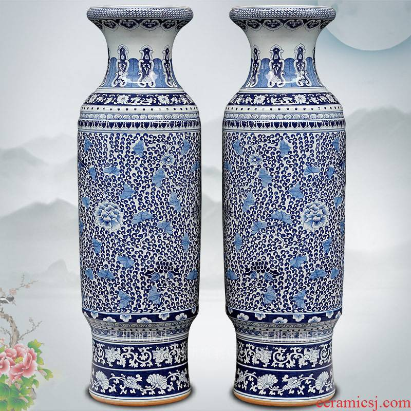 Jingdezhen ceramic of large vases, sitting room of Chinese style household furnishing articles hand - made of blue and white porcelain lotus flower vase of porcelain of admiralty