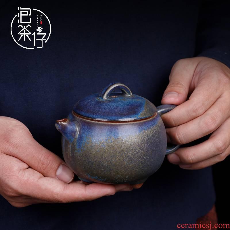 Jin shenhou jun porcelain tea set Chen Juncai vigour blue pot of pure manual teapot tea one with small single pot