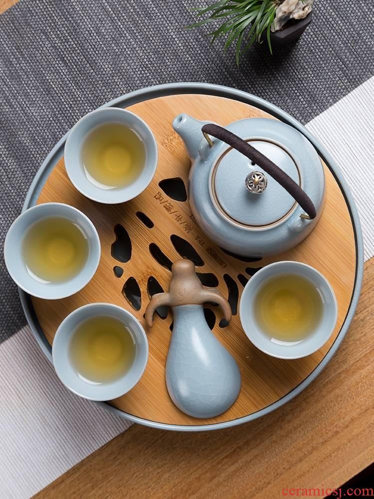 The porcelain tea set home portable travel kung fu tea set your up glaze girder pot teapot tea tray