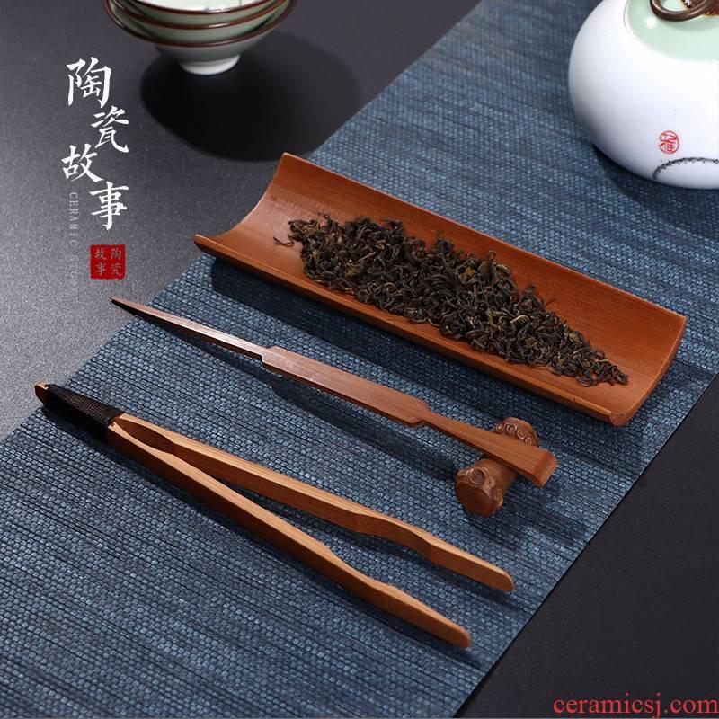 Ceramic story carbonized bamboo tea is three - piece enjoy tea holder ChaGa grilled ChaZhen tea art kung fu tea tea accessories