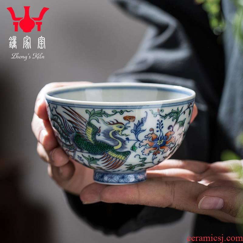 Clock home up kunfu tea cups jingdezhen tea set manually chenghua bucket color double phoenix branch lines master of blue and white porcelain cup