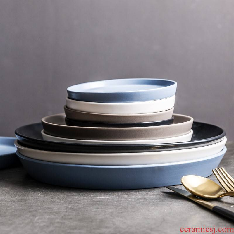 Ceramic plate northern wind ins 0 creative household continental plate round the dishes steak plate breakfast tray