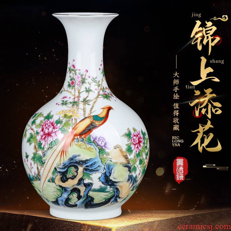Jingdezhen ceramics dried flower vase furnishing articles flower arranging porcelain modern Chinese style of TV ark, wine sitting room adornment