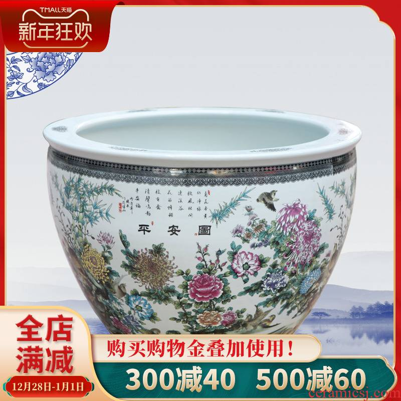 121 home furnishing articles of jingdezhen ceramic aquarium fish tank water lily bowl lotus cylinder tank floor furnishing articles