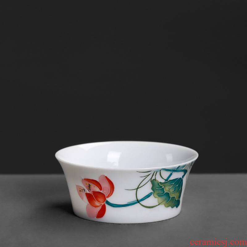 Jingdezhen small hand - made ceramic cups household masters cup single cup tea cup only tea bowl of kung fu tea set