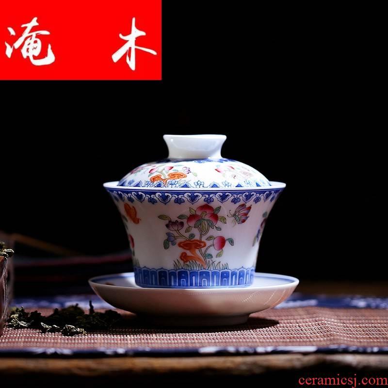 Flooded, rhyme tureen large ceramic tea set tea cups jingdezhen hand - made pastel three of the bowl bowl HX
