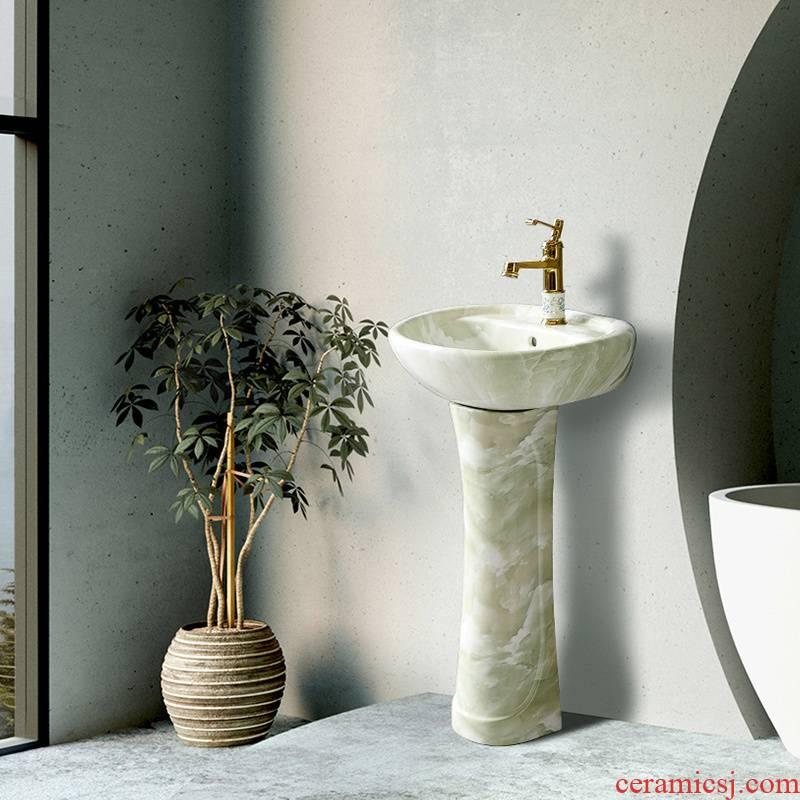 Basin bathroom modern ceramic washbasin xian column vertical home floor balcony Nordic lavabo, simple small family