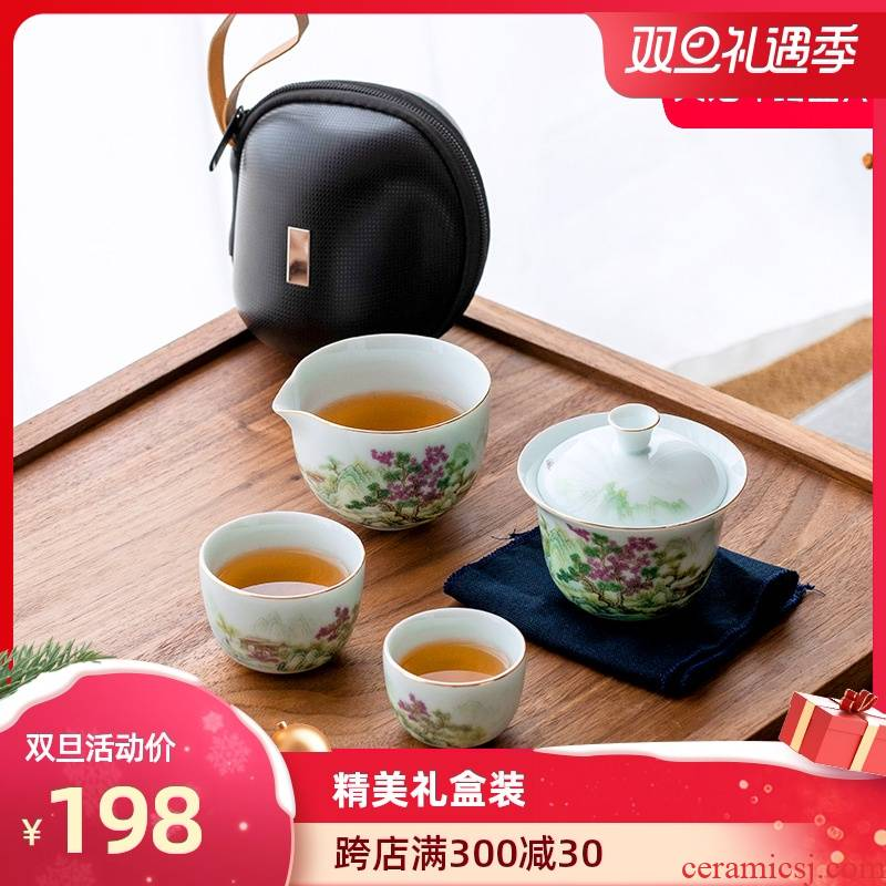 Artisan fairy work travel kung fu tea set package type to receive a simple office ceramic household Japanese tea