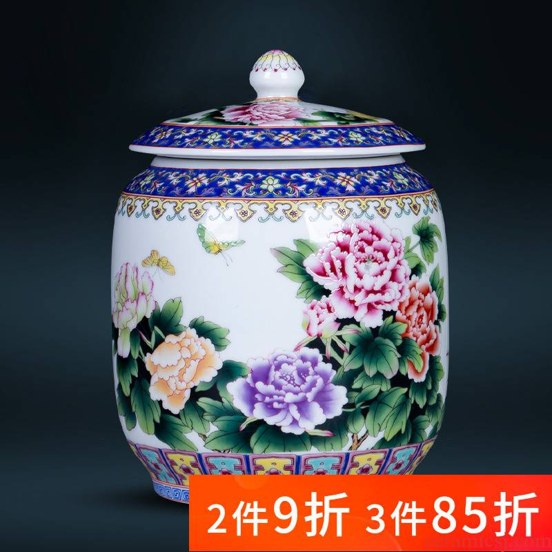 Jingdezhen ceramics colored enamel Chinese style household mouldproof moistureproof landscape scattered tea storage tanks receive a small pot