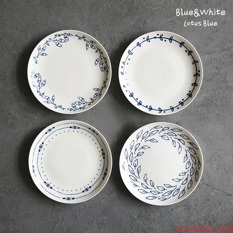 Qiao mu LH household blue and white 7 inch high rural wind ipads porcelain dessert plate pastry disc dried fruit dish cake plate ipads plate