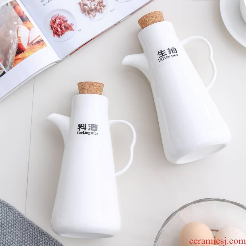 Scene filled the kitchen ceramic oil bottle suit household leakproof seasoning bottle of vinegar bottle of soy sauce pot cooking wine original oil original oil bottle