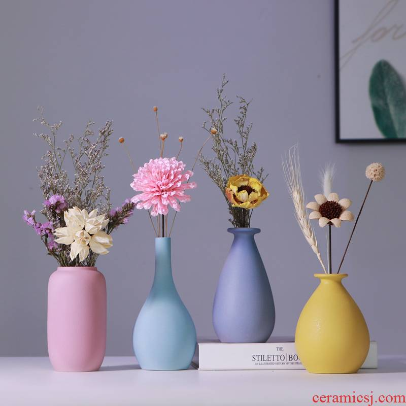 European simplicity vase furnishing articles sitting room flower arranging small pure and fresh and dried flowers, flower implement water grain ceramic vase