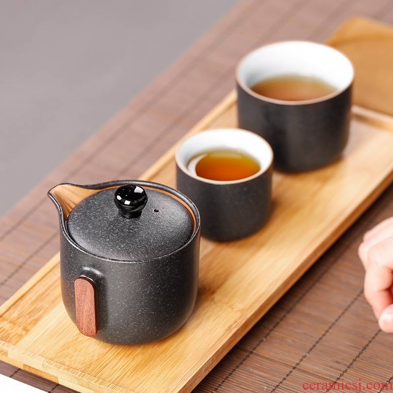 Coarse ceramic cup to crack a pot of two cups of 2 people travel kung fu tea sets of small portable bag 2 Japanese tea cups