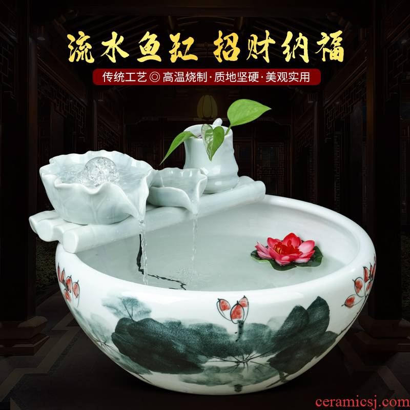 Jingdezhen ceramics humidifier furnishing articles aquarium fountain desktop office sitting room aquarium fish farming water basin