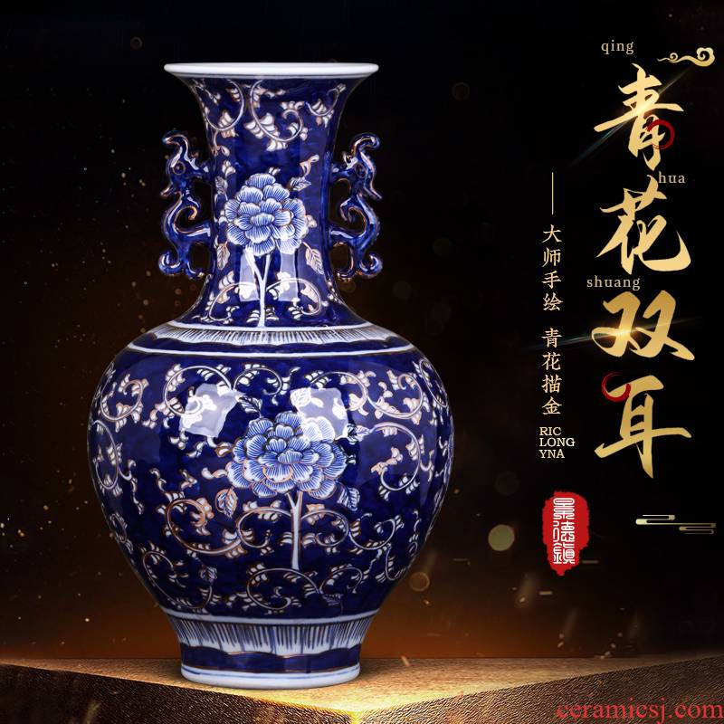 The Master of jingdezhen ceramics blue and white porcelain vase hand - made paint furnishing articles of Chinese style flower adornment large living room